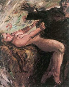 20th Century German impressionist interpretation of the Bible's lusty Corinth (Potiphar's wife) trying to seduce Joseph.
